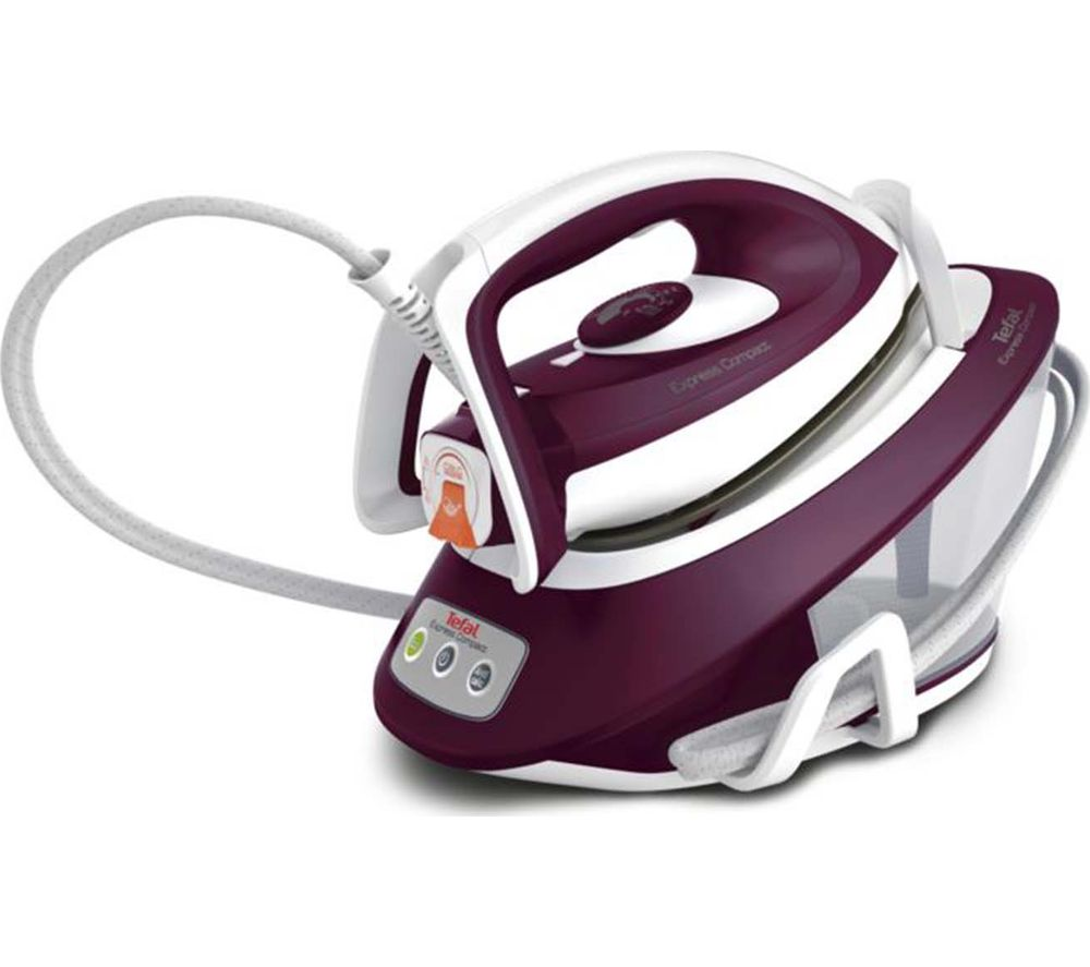 TEFAL Express Compact Anti-Scale SV7120 Steam Generator Iron - Purple & White, Purple