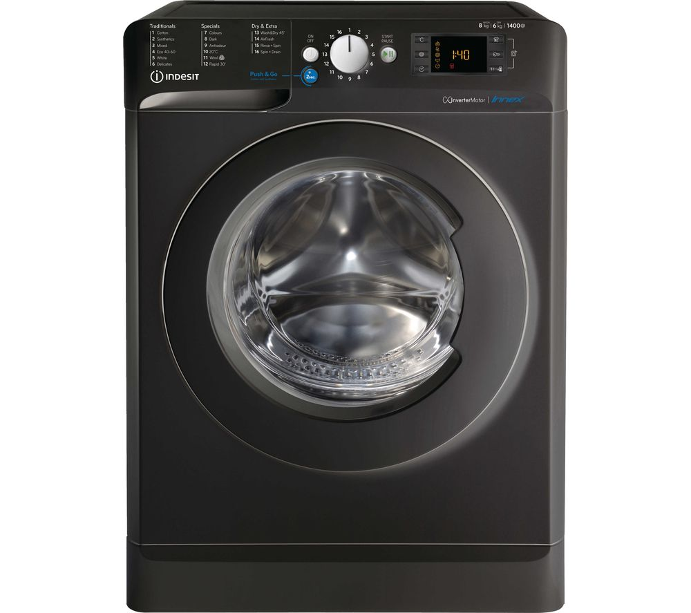 INDESIT Innex BDE 861483X K UK N 8 kg Washer Dryer - Black, Black