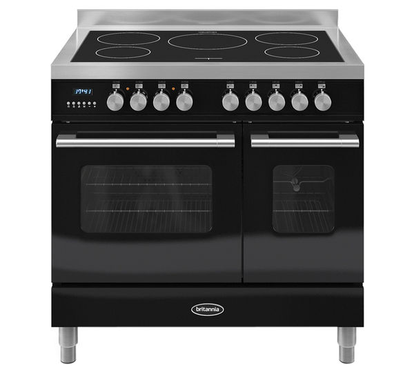 BRITANNIA Delphi 90 RC9TIDEK Electric Induction Range Cooker - Gloss Black & Stainless Steel, Stainless Steel
