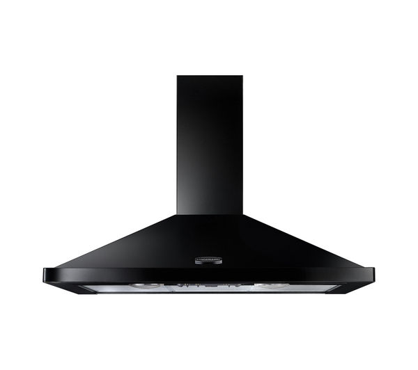 RANGEMASTER LEIHDC90BB Chimney Cooker Hood - Black & Brass, Black