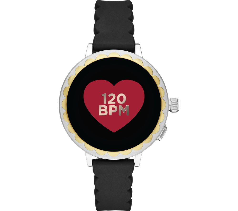 KATE SPADE Scallop 2 KST2008 Smartwatch - Black, Silver & Gold, Silicone Strap, 42 mm, Black