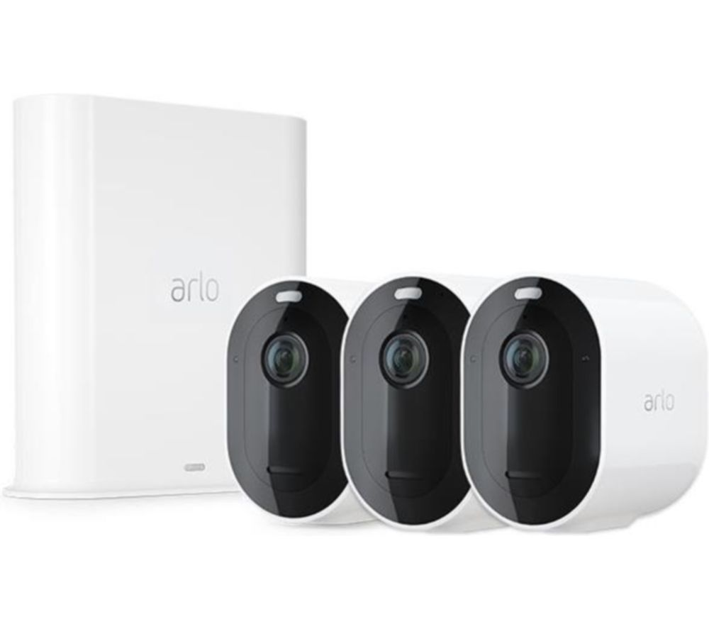 ARLO Pro 3 2K WiFi Security Camera System - 3 Cameras, White, White