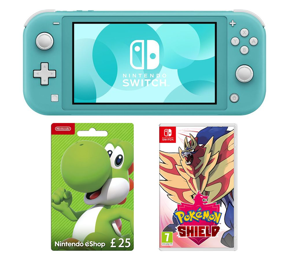 Nintendo Switch Lite, Pokemon Shield & £25 eShop Gift Card Bundle - Turquoise, Turquoise