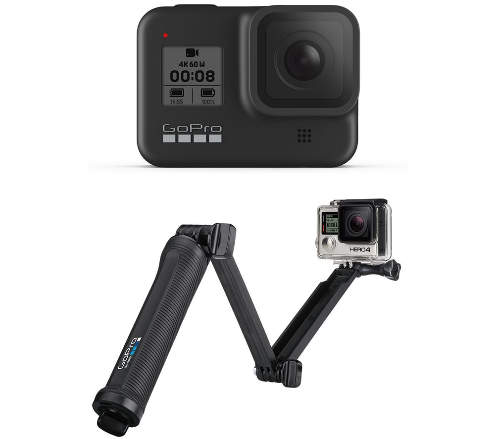 Gopro HERO8 4K Ultra HD Action Camera & 3-Way Mount Bundle, Black