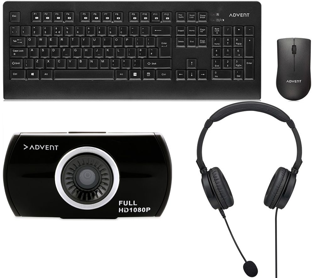 ADVENT Home Office Meetings Bundle - Webcam, Headset & Keyboard & Mouse