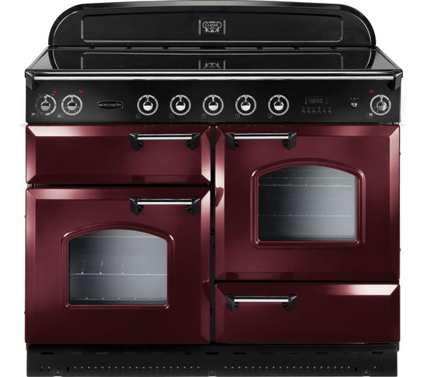 RANGEMASTER Classic 110 Electric Induction Range Cooker - Cranberry & Chrome, Cranberry