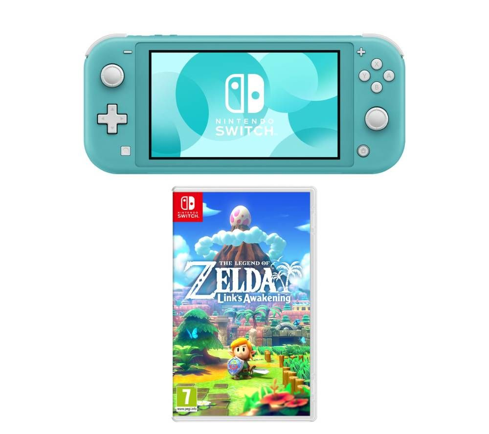 Nintendo Switch Lite & The Legend of Zelda Links Awakening Bundle - Turquoise, Turquoise