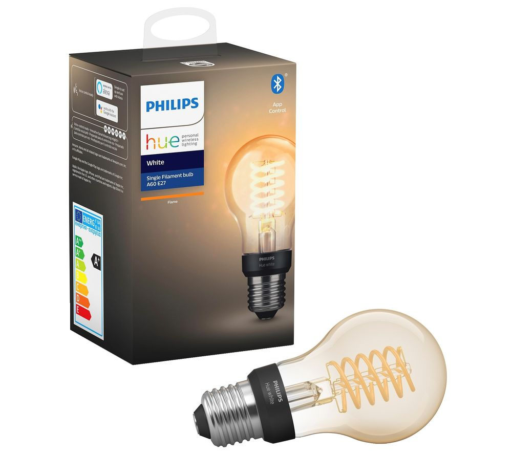 PHILIPS Hue Filament Bluetooth LED Bulb - A60, E27, White