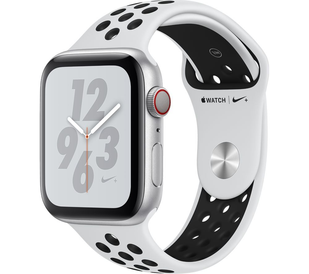 APPLE Watch Series 4 Cellular - Silver with Pure Platinum and Black Nike Sports Band, 44 mm, Silver