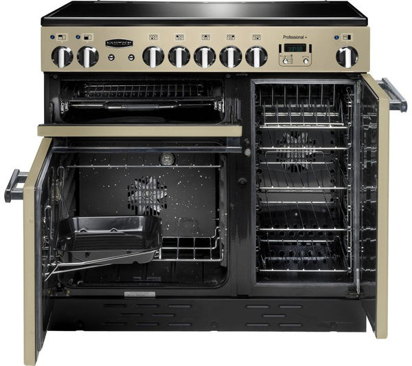 Rangemaster Professional+ 90 Electric Ceramic Range Cooker - Cream & Chrome, Cream