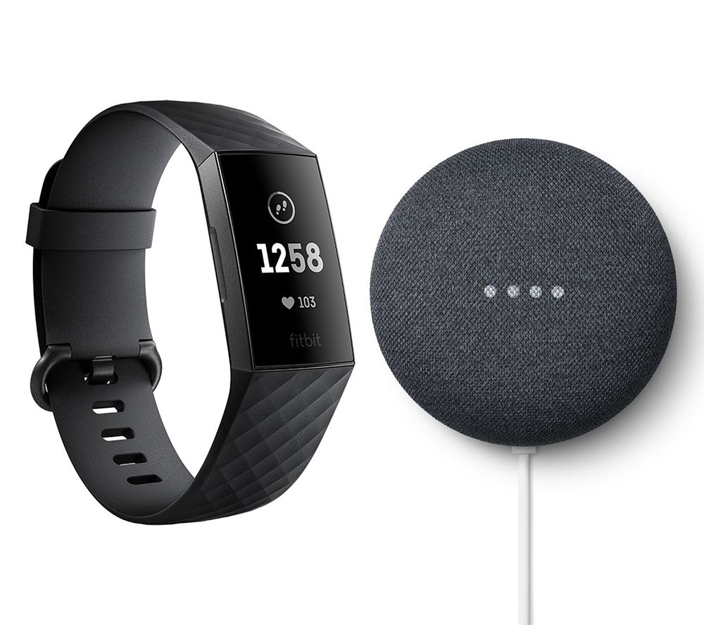 FITBIT Charge 3 & Google Charcoal Nest Mini (2nd Gen) Bundle - Black & Graphite, Universal, Charcoal