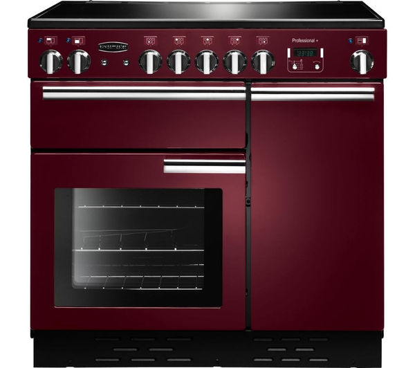 RANGEMASTER Professional 90 Electric Ceramic Range Cooker - Cranberry & Chrome, Cranberry