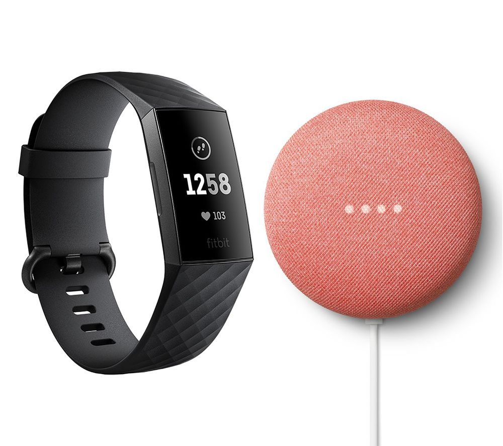 FITBIT Charge 3 & Google Coral Nest Mini (2nd Gen) - Black & Graphite, Universal, Coral