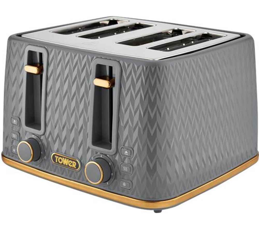 TOWER Empire Collection T20061GRY 4-slice Toaster - Grey, Grey
