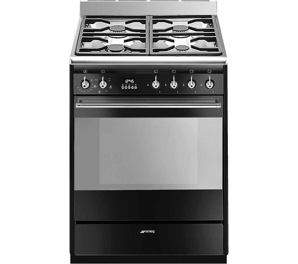SMEG SUK61MBL9 60 cm Dual Fuel Cooker - Black & Stainless Steel, Stainless Steel