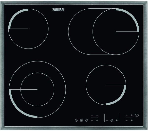 ZANUSSI ZEV6646XBA Electric Ceramic Hob - Black & Stainless Steel, Stainless Steel