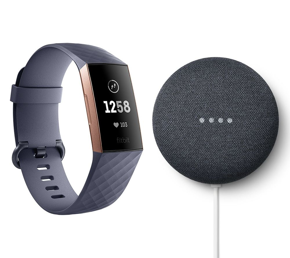 FITBIT Charge 3 Blue Grey and Rose Gold & Charcoal Google Nest Mini (2nd Gen) Bundle, Blue