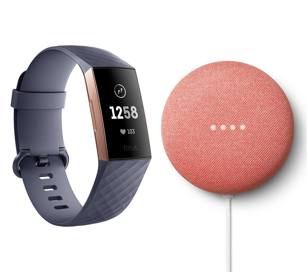 FITBIT Charge 3 & Coral Google Nest Mini (2nd Gen) Bundle - Blue Grey and Rose Gold, Coral