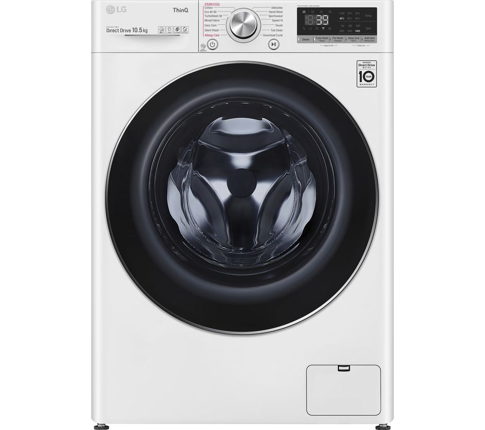 LG TurboWash 360 with AI DD V9 F4V910WTSE WiFi-enabled 10.5 kg 1400 Spin Washing Machine - White, White