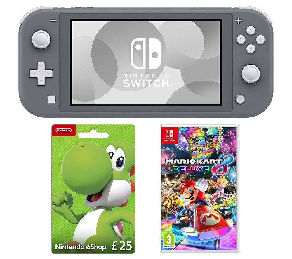 NINTENDO Switch Lite, Mario Kart 8 Deluxe & eShop £25 Gift Card Bundle - Grey, Grey