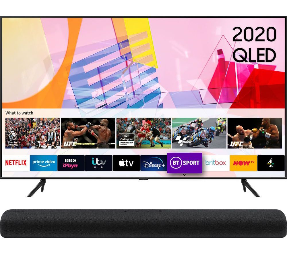 "75"" SAMSUNG QE75Q60TAUXXU  Smart 4K Ultra HD HDR QLED TV & HW-S60T/XU 4.0 All-in-One Sound Bar Bundle"