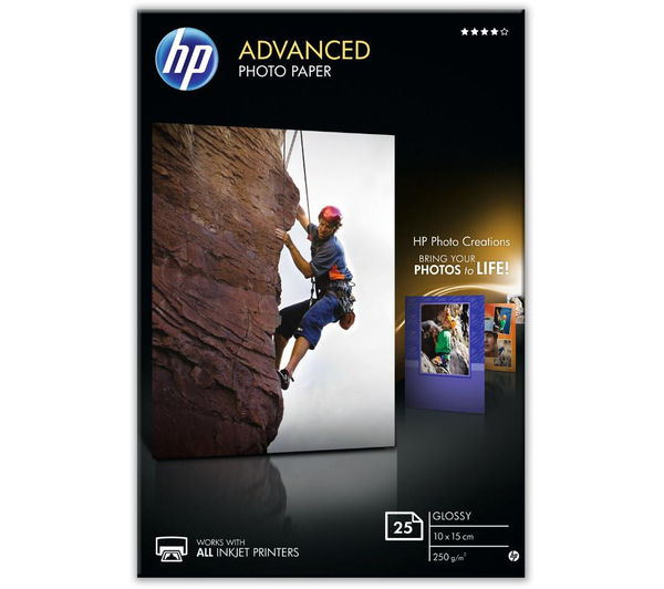 HP 100 x 150 mm Advanced Glossy Photo Paper - 25 Sheets