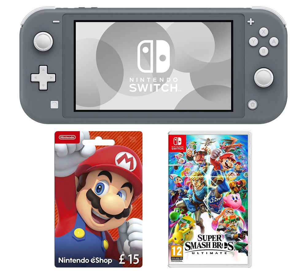 NINTENDO Switch Lite, Super Smash Bros. Ultimate & eShop £15 Gift Card Bundle - Grey, Grey