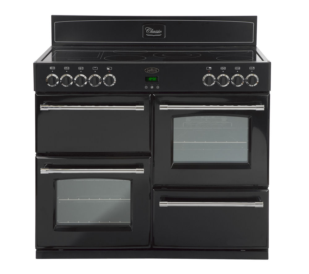 BELLING 110E Electric Ceramic Range Cooker - Black, Black