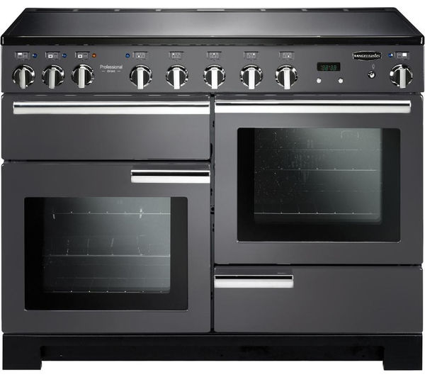 Rangemaster Professional Deluxe 110 Electric Induction Range Cooker - Slate & Chrome, Brown