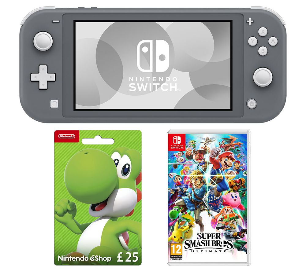 NINTENDO Switch Lite, Super Smash Bros. Ultimate & eShop £25 Gift Card Bundle - Grey, Grey