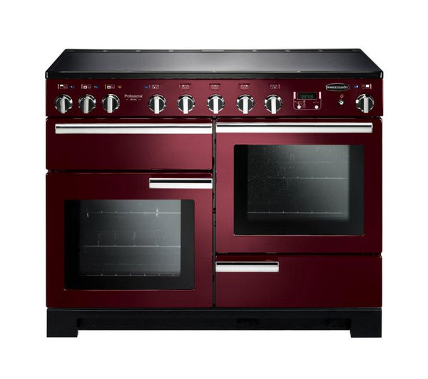 Rangemaster Professional Deluxe 110 Induction Range Cooker - Cranberry & Chrome, Cranberry