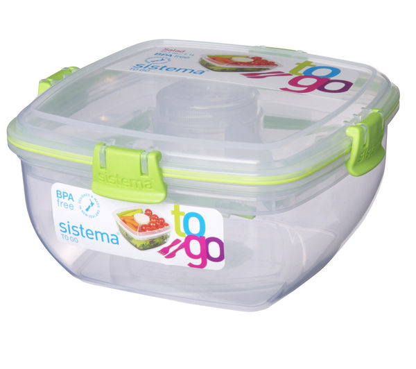 SISTEMA Square 1.1-litre Salad to Go Box, Pink