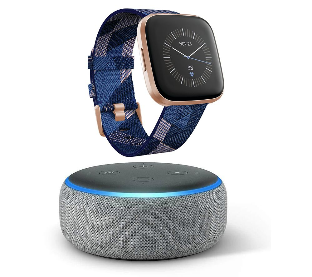 FITBIT Versa 2 Special Edition with Amazon Alexa & Echo Dot (2018) Heather Grey Bundle - Woven Strap, Navy & Pink, Grey