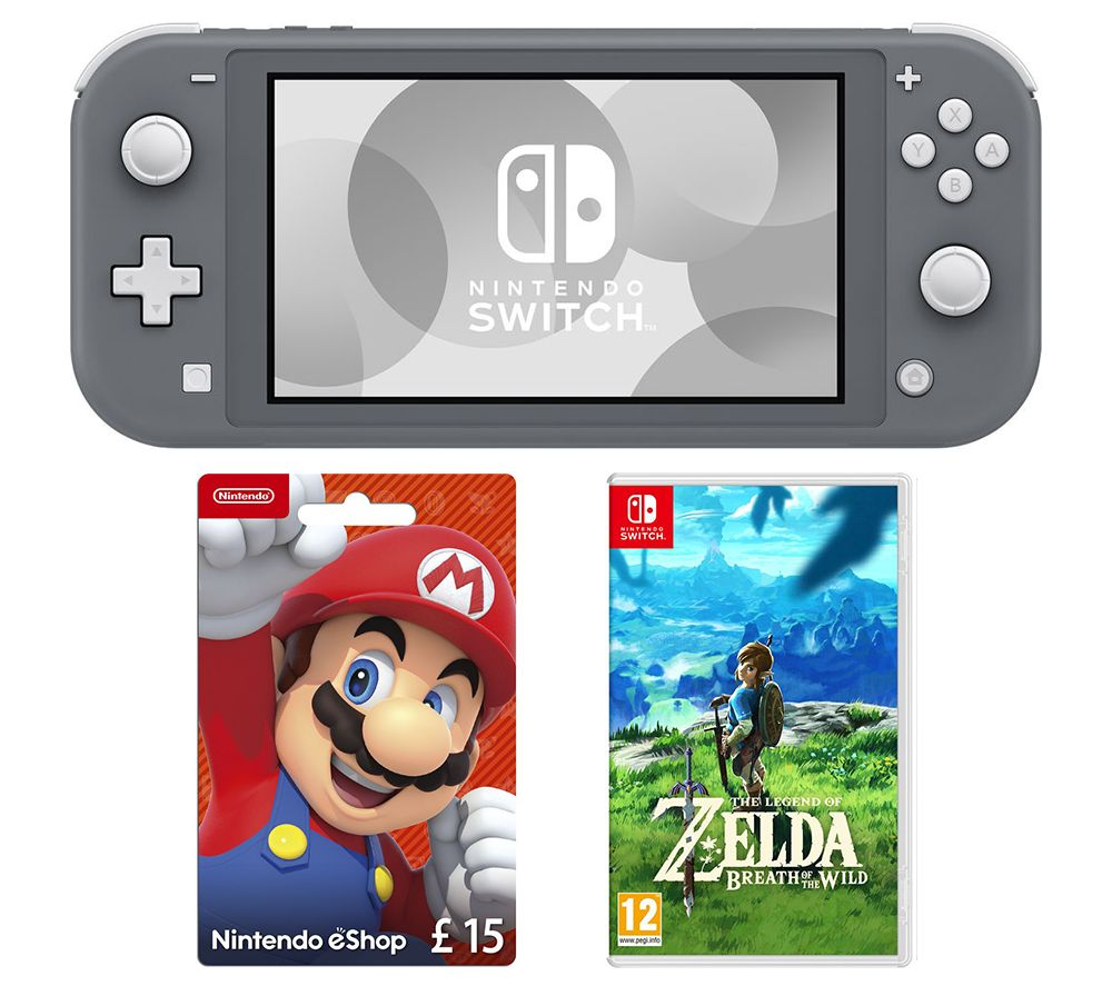 NINTENDO Switch Lite, The Legend of Zelda: Breath of the Wild & eShop £15 Gift Card Bundle - Grey, Grey