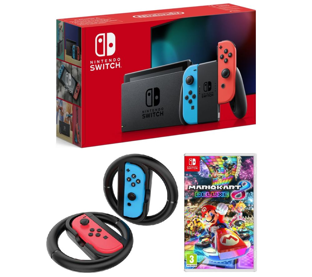 NINTENDO Switch Neon, Mario Kart 8 & Joy-Con Racing Wheels Bundle, Neon