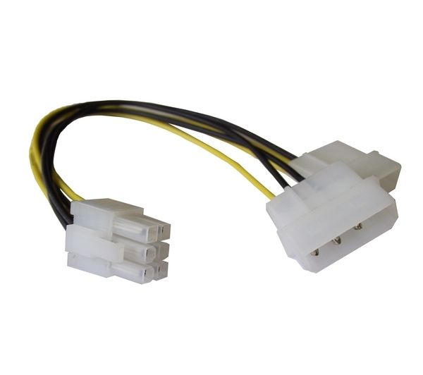 DYNAMODE 4-Pin Molex to 6-Pin PCle Cable - 10cm