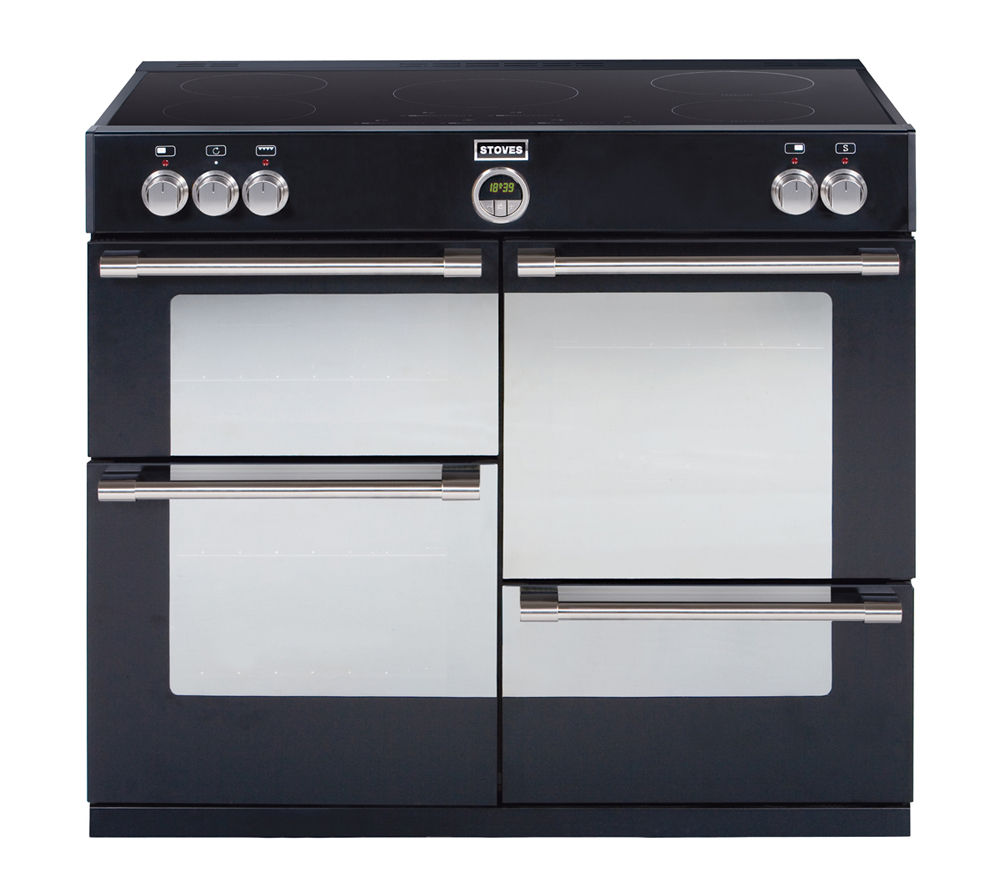 STOVES Sterling 1000Ei Electric Induction Range Cooker - Black, Black