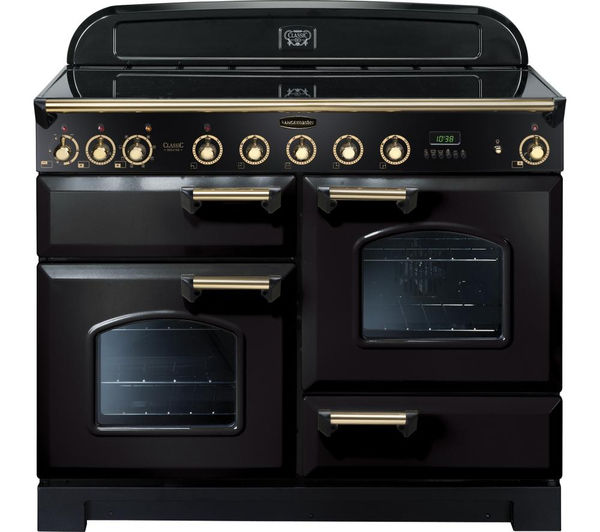 Rangemaster Classic Deluxe 110 Electric Induction Range Cooker - Black & Brass, Black