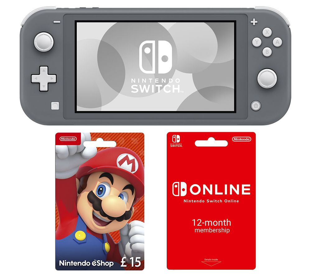 NINTENDO Switch Lite, 12 Month Online Membership & eShop £15 Gift Card Bundle - Grey, Grey