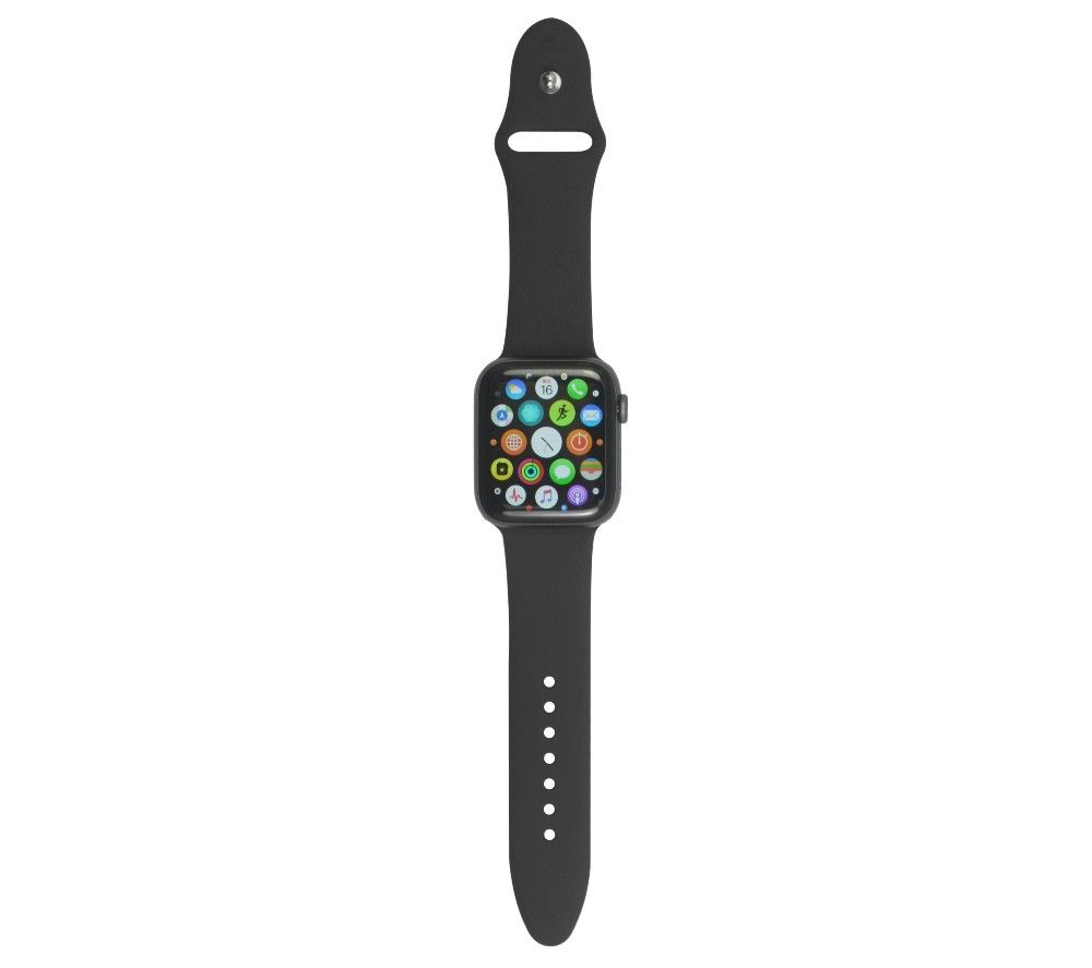 XQISIT Apple Watch 42 / 44 mm Silicone Strap - Black, Small, Black