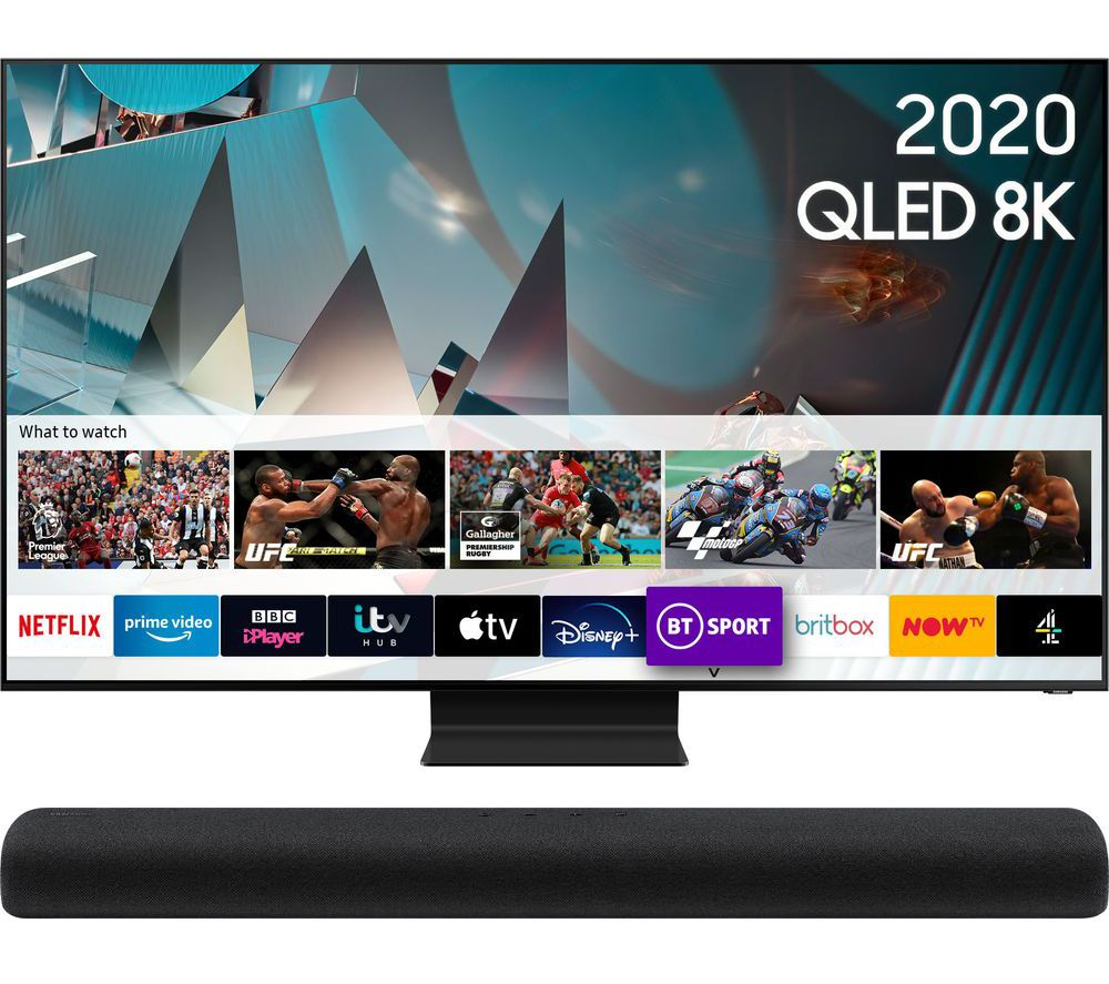 "65"" QE65Q800TATXXU  Smart 8K HDR QLED TV & HW-S60T/XU 4.0 All-in-One Sound Bar Bundle"