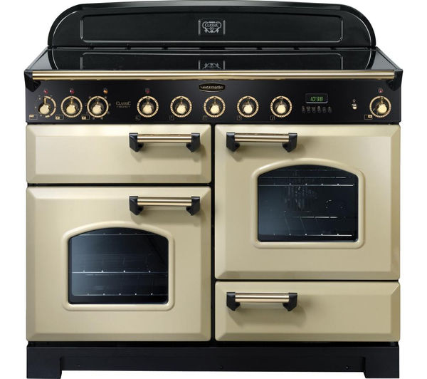 Rangemaster Classic Deluxe 110 Electric Induction Range Cooker - Cream & Brass, Cream