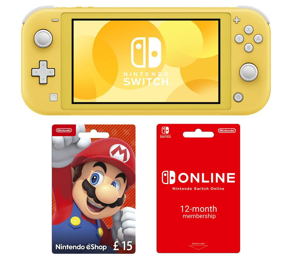 NINTENDO Switch Lite, 12 Month Online Membership & eShop £15 Gift Card Bundle - Yellow, Yellow