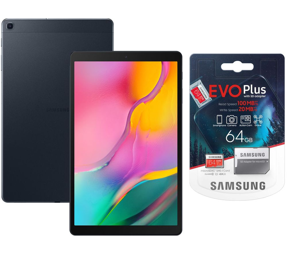"SAMSUNG Galaxy Tab A 10.1"" Tablet (2019) & Evo Plus 64 GB microSD Memory Card Bundle - 32 GB, Black, Black"