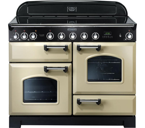RANGEMASTER Classic Deluxe 110 Electric Induction Range Cooker - Cream & Chrome, Cream