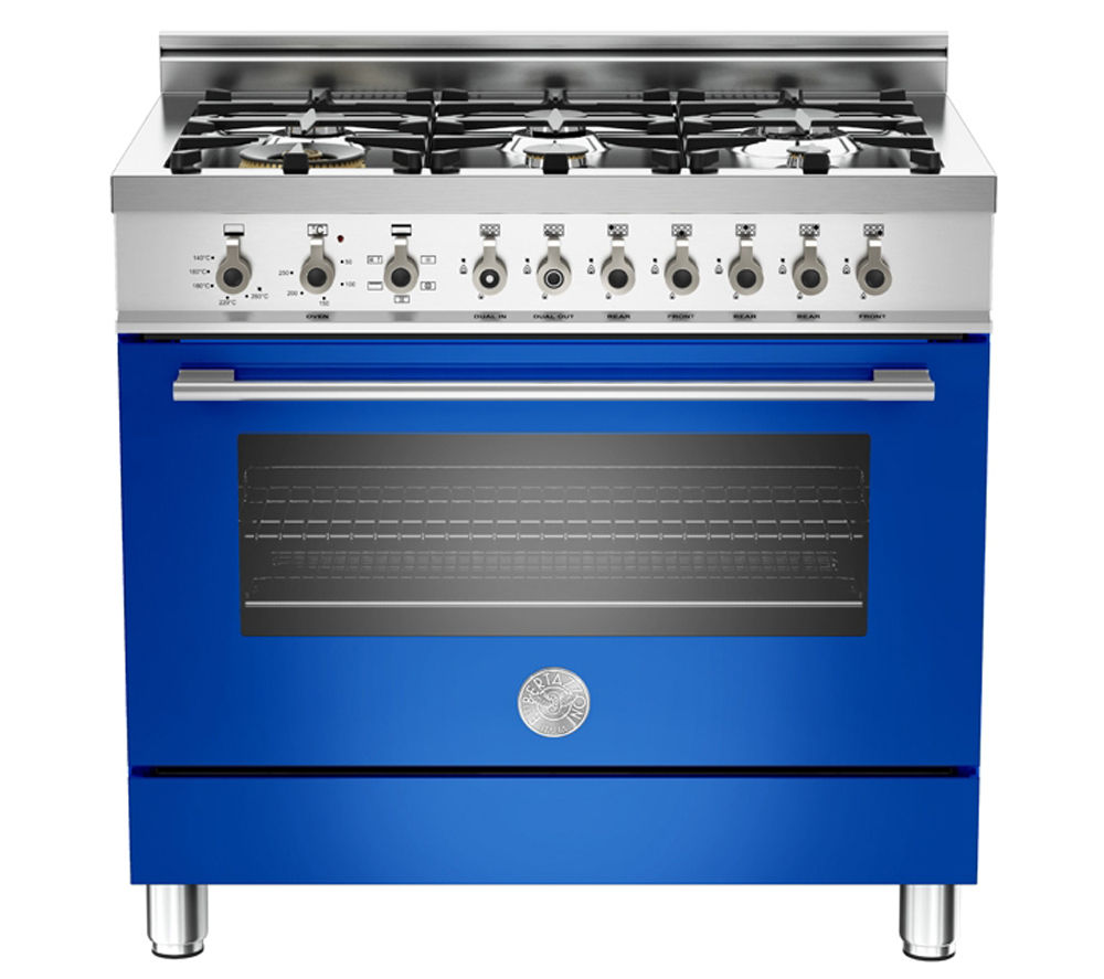 BERTAZZONI Professional 90 Dual Fuel Range Cooker - Blue & Stainless Steel, Stainless Steel