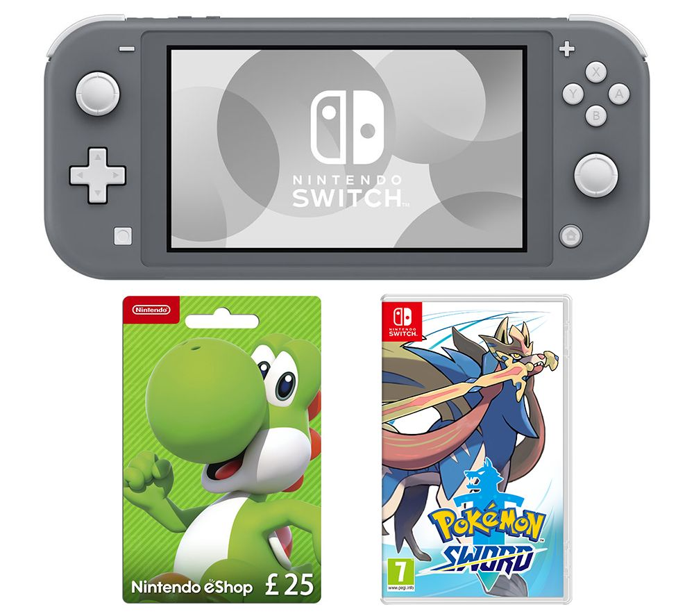 Nintendo Switch Lite, Pokemon Sword & eShop £25 Gift Card Bundle - Grey, Grey