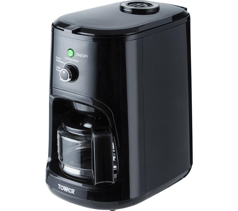 TOWER T13005 Bean to Cup Coffee Machine - Black, Black