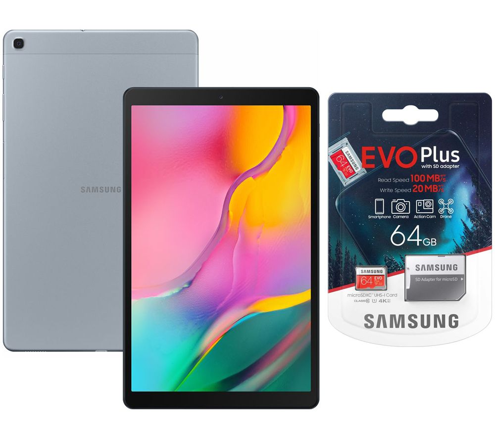 "SAMSUNG Galaxy Tab A 10.1"" Tablet (2019) & Evo Plus 64 GB microSD Memory Card Bundle - 32 GB, Silver, Silver"