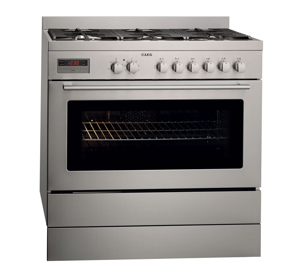 AEG 47009GO-MN Dual Fuel Range Cooker - Stainless Steel, Stainless Steel
